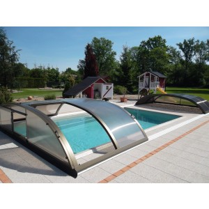 Poolüberdachung Proof COMPACT Low Silber-Elox oder Anthrazit Poolcover
