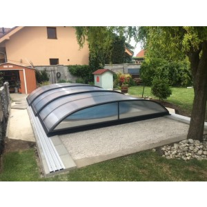 Poolüberdachung Proof COMPACT K3 Silber-Elox oder Anthrazit Poolcover